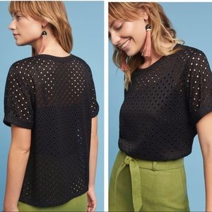 Anthropologie Chantal Lace Top NWT Black XS Tee
